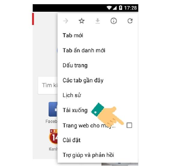 Các tùy chọn bắt đầu xuất hiện bạn hãy click yêu cầu giao diện máy tính ở Mobile