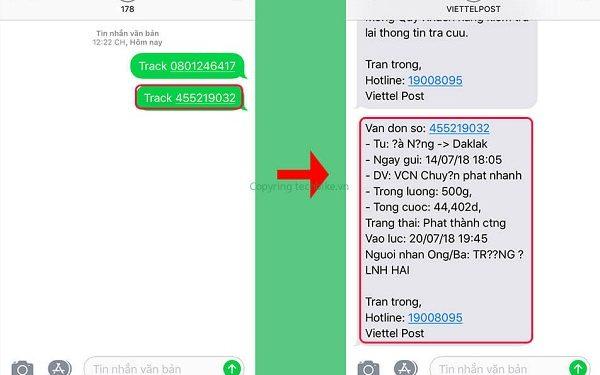 Kiểm tra mã bill Viettel Post bằng tin nhắn sms