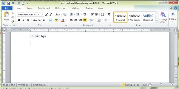 Ngắt trang tự động trong Word 2010