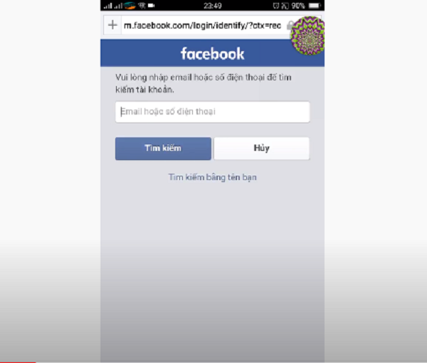 Nhận chọn dòng chữ quên mật khẩu để thực hiện cách check pass facebook