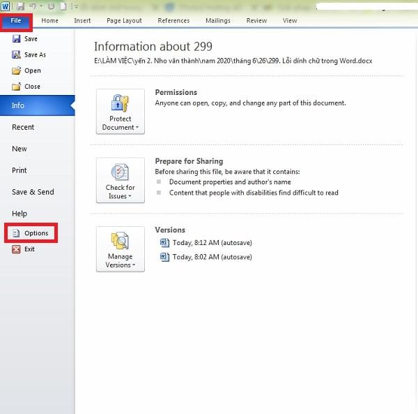 Ở giao diện chính bạn chọn file rồi click vào tùy chọn Options