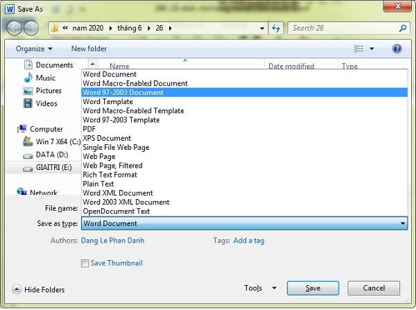 Ở mục Save as type bạn click vào mục Word 97 – 2003 Document rồi chọn save