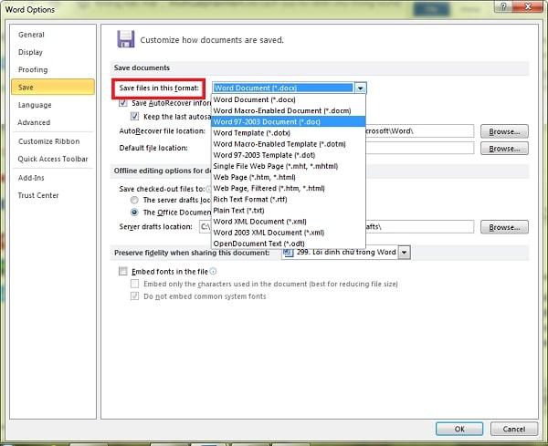 Tại mục Save files in this format bạn click dấu sổ xuống để lựa chọn tùy chọn thích hợp