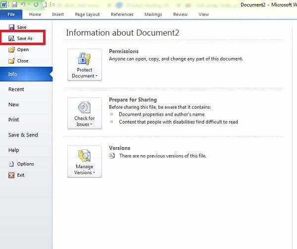Tại văn bản soạn thảo bạn click vào file rồi chọn save as
