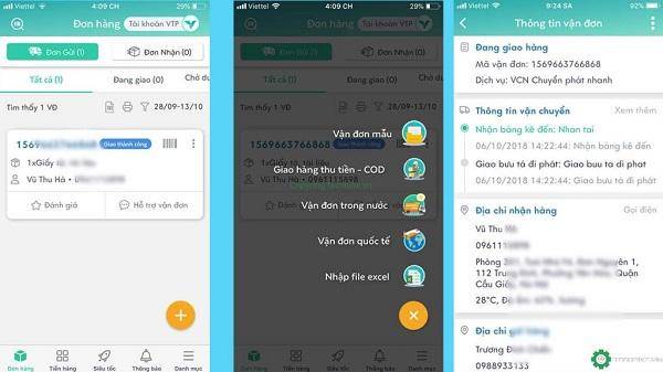 Tra cứu mã đơn hàng trên ứng dụng của Viettel Post