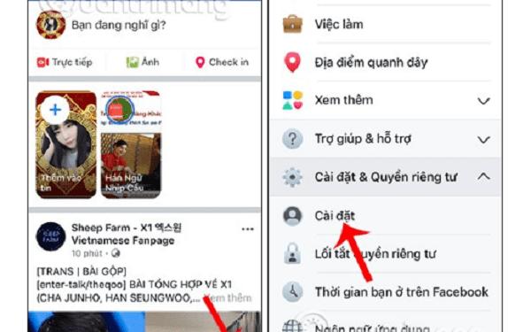 Truy cập facebook và lựa chọn mục cài đặt thiết lập