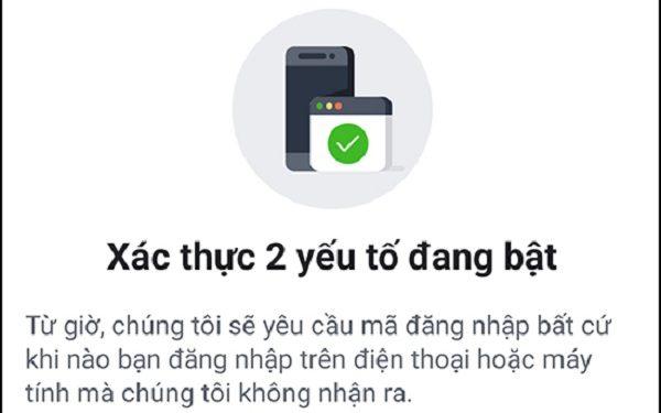 Hoàn tất xác nhận bảo mật 2 lớp facebook