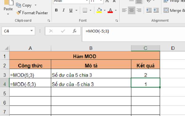 Cách sử dụng hàm mod để xác định được phần dư của phép chia