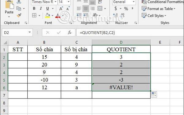 Hướng dẫn cách dùng hàm hàm chia trong excel - QUOTIENT để xác định được phần nguyên
